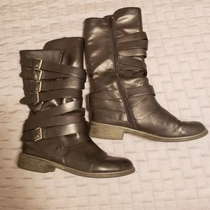 REPORT 'Hugo' Shin High Strappy Buckled Boots